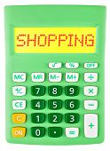 Calculator With Shopping On Display Isolated