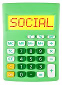 Calculator With Social On Display Isolated