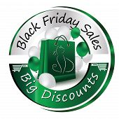 Green Black Friday label for print