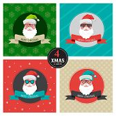 four xmas cards with hipster santa