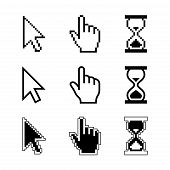 Pixel cursors icons mouse cursor hand pointer hourglass. Vector illustration.