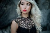 stock photo of fine art portrait  - Fashion art photo of beautiful woman with red lipstick - JPG