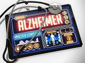 Alzheimer on the Display of Medical Tablet.