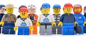 Ankara, Turkey  May 28, 2013:  Studio shot of different types of Lego workers isolated on white background.