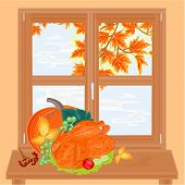 Autumn Window And Celebratory Food Vector