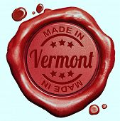 Made in Vermont red wax seal or stamp, quality label