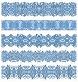 blue colour seamless ethnic floral paisley stripe pattern