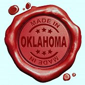 Made in Oklahoma red wax seal or stamp, quality label
