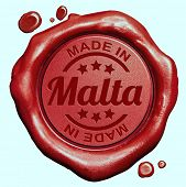 Made in Malta red wax seal or stamp, quality label