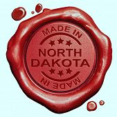 Made in North Dakota red wax seal or stamp, quality label