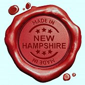Made in New Hampshire red wax seal or stamp, quality label