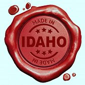 Made in Idaho red wax seal or stamp, quality label