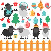 Set Of Cute Sheep And Christmas Elements