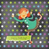 Vector happy birthday fun greeting card. Happy girl.