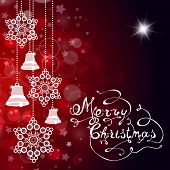 Red Christmas Background With Bells, Snowflakes And Hand Made Letters