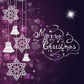 Christmas Background With Bells, Snowflakes And Hand Made Letters.