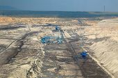 stock photo of open-pit mine  - Open pit mining of coal - JPG