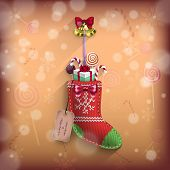 Christmas Sock With Gifts on the Wall
