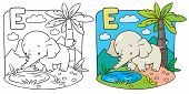 Coloring book of elephant. Alphabet D