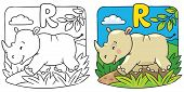 pic of rhino  - Coloring picture or coloring book of little funny rhino - JPG