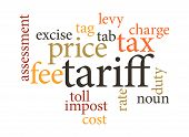 image of nouns  - term of tariff in word clouds - JPG