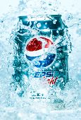 MOSCOW, RUSSIA-APRIL 4, 2014: Can of Pepsi cola Lignt in water.Pepsi is a carbonated soft drink that is produced and manufactured by PepsiCo. Created and developed in 1893.