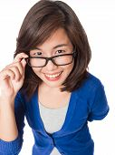 Woman Wearing Glasses Looking Up Happy Smile .