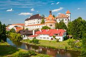 Beautiful renaissance era castle with Roundel pavillon in Jindrichuv Hradec was built in 16th century and is located on the hill near the river Nezarka. Czech Republic