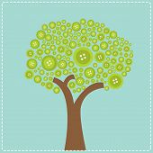 Big Green Button Tree. Flat Design.