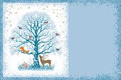 image of snow owl  - Christmas card with snow covered tree and different animals near and on it - JPG