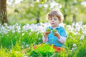 Little Preschoool Boy Having Fun With Traditional Easter Egg Hunt On Warm Sunny Day, Outdoors. Celeb