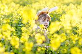 Happy Little Kid Boy With Easter Bunny Ears, Celebrating Easter Holiday