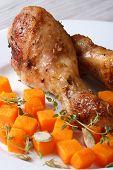 Roasted Chicken Drumsticks With A Pumpkin Vertical