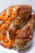 Roasted Chicken Drumsticks With A Pumpkin, Vertical Top View
