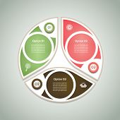 Vector cyclic diagram with three steps and icons. Green, pink and brown color. eps 10
