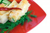 baked cannelloni served with pepper and tomato