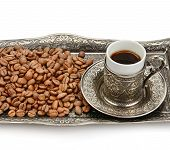 Turkish Cup And Coffee Grain Isolated On White Background