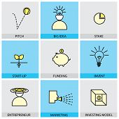 Flat Design Set Of Vector Line Icons Of Pitch Big Idea Invent Entrepreneur