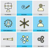 Flat Design Set Of Vector Line Icons Of Planning Mission Goal Target