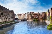 Beautiful Leie river in Ghent downtown, Belgium
