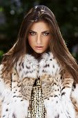 stock photo of cold-shoulder  - Fashion model posing in a fur coat - JPG