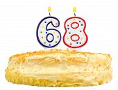 Birthday Cake Candles Number Sixty Eight Isolated