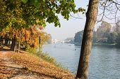 Along the Po River in autumn, Turin