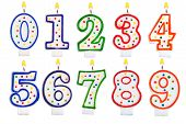 Birthday Candles Number Set Isolated On White