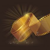 3D Gold Film Reel , Vector Label Sign