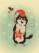 Curious cat and bullfinch celebrate Christmas