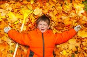 Boy laying on the autumn leaves with rake