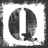 Single Letter Q Stamp, Grunge Design