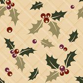 Ilex sprig seamless Christmas background