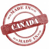 Made In Canada, Red Grunge Seal Stamp